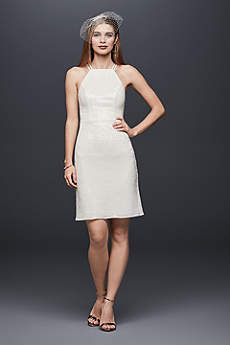 Allover Sequin High-Neck Sheath Mini Dress