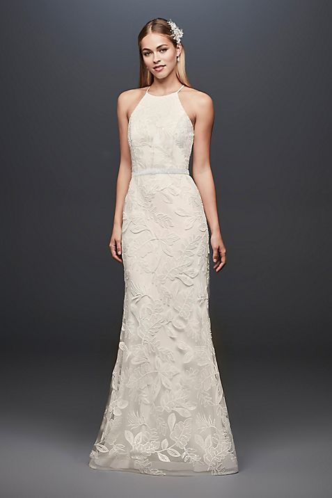Sequin Leaf-Appliqued High Neck Sheath Gown | David\'s Bridal