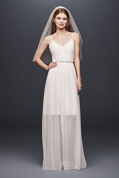 Pleated Chiffon Gown with Ribbon Straps and Lace | David\'s Bridal