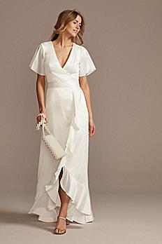 Flutter Sleeve Stretch Satin Dress with Ruffle Hem SDWG0825