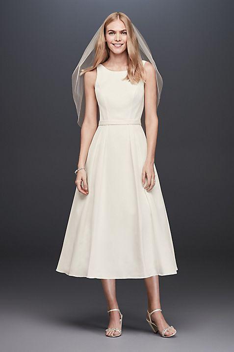 Faille Tea-Length A-Line Dress with Pockets | David\'s Bridal