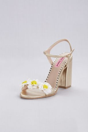 28a8d1aefe93 Pink by Betsey Johnson Yellow Heeled Sandals (3D Daisy Ankle Strap Chunky Heel  Sandals)
