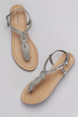 David's Bridal Grey Sandals (Crystal-Studded Scalloped Metallic T-Strap Sandals)