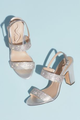 Nina Grey;Yellow Sandals (Pave Crystal Strap Slingback Block Heel Sandals)