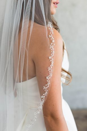 Crystal-Trimmed English Tulle Fingertip Veil