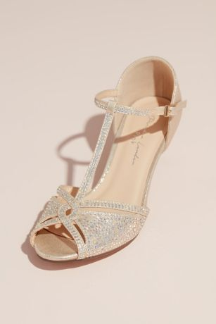 Pink Paradox Grey;Ivory Peep Toe Shoes (T-Strap Heels with Metallic Stones)