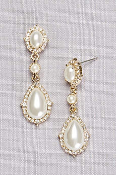 Triple Pearl Pave Drop Earrings