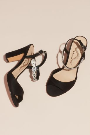 Nina Black Heeled Sandals (Satin Block Heel Sandals with Crystal Ankle Strap)