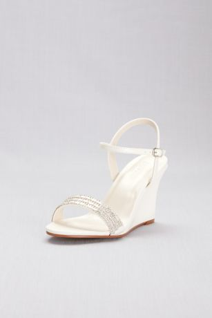 David's Bridal Grey;Ivory;Yellow Wedges (Crystal Embellished Quarter-Strap Wedges)
