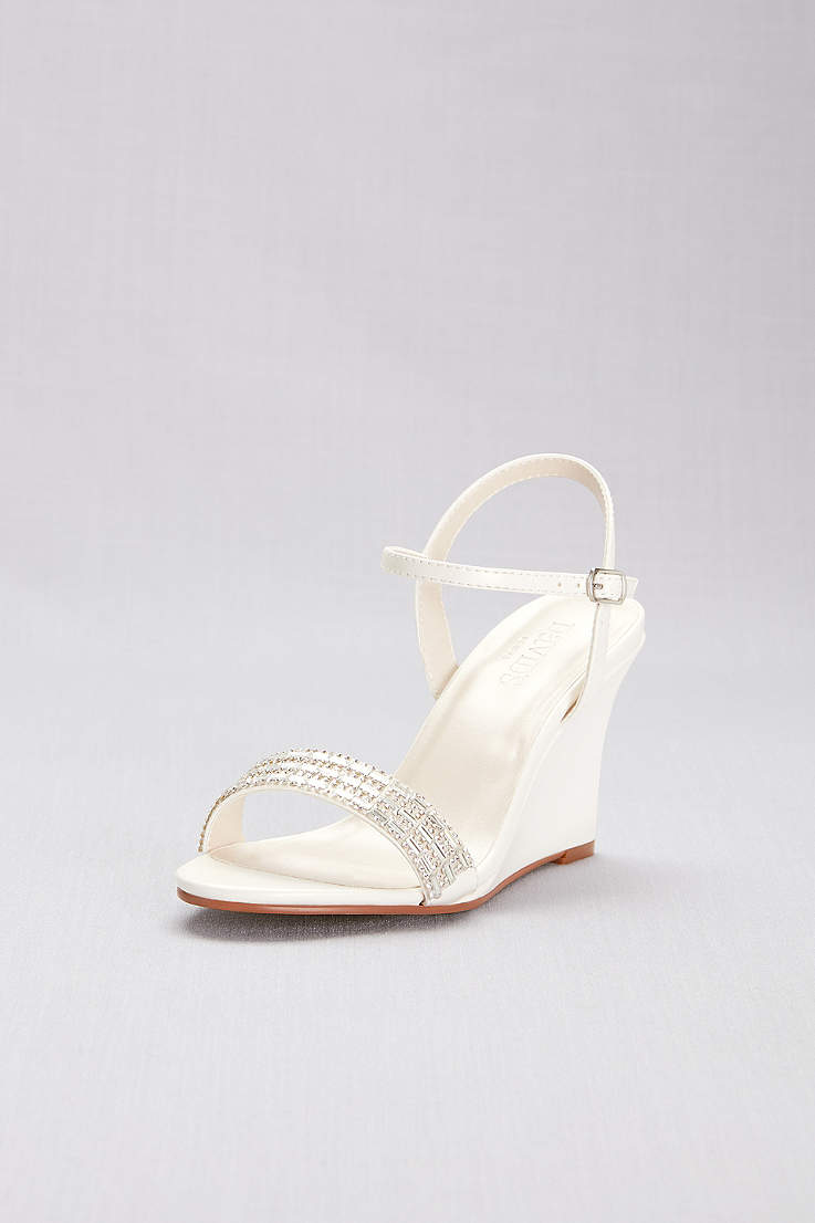 9add11ed30 David's Bridal Grey;Ivory;Yellow Wedges (Crystal Embellished Quarter-Strap  Wedges)