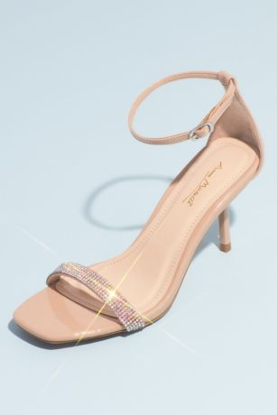 Bamboo Beige Heeled Sandals (Square-Toe Crystal Strap Heeled Sandals)