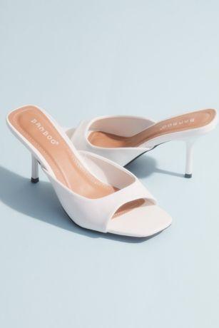 Bamboo Beige;Black;White Heeled Sandals (Square Toe Kitten Heel Mule Sandals)