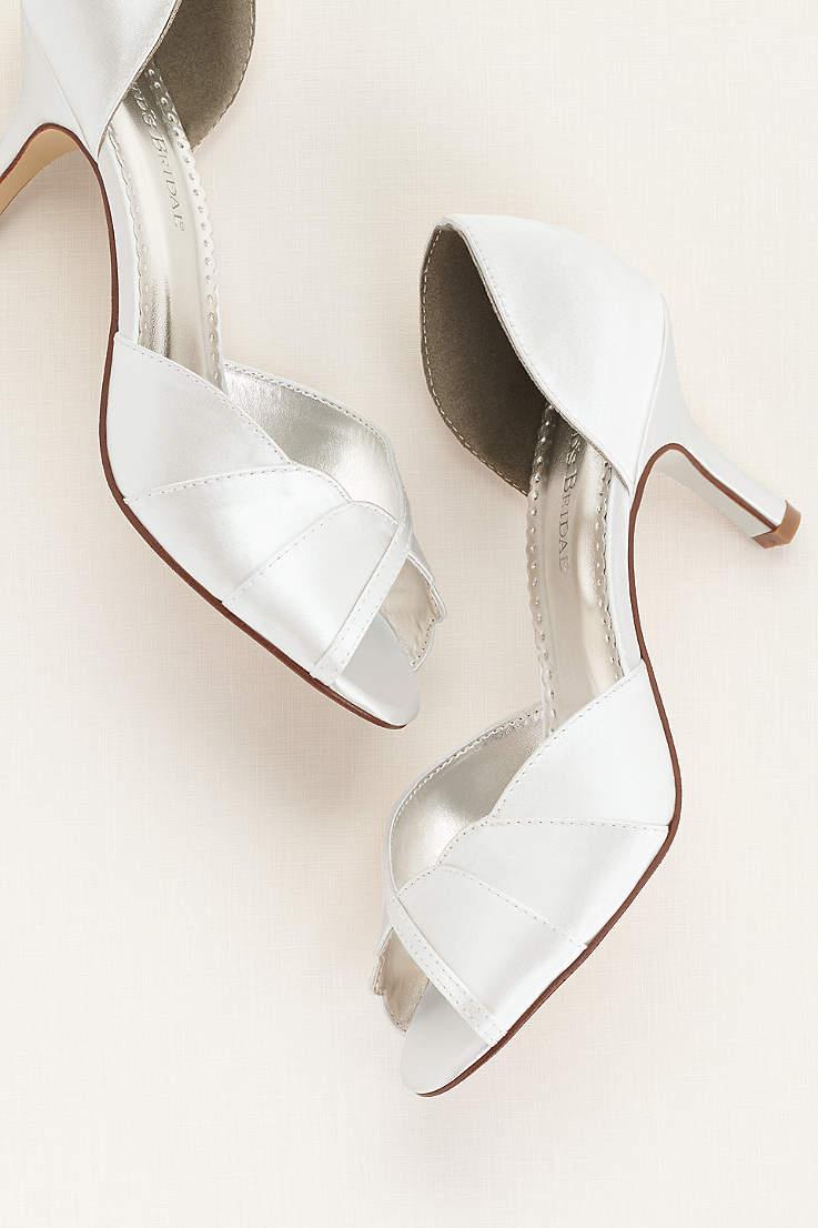 c2846c2fa93 David s Bridal White Peep Toe Shoes (Dyeable Peep Toe Mid Heel with  Scalloped Edge)