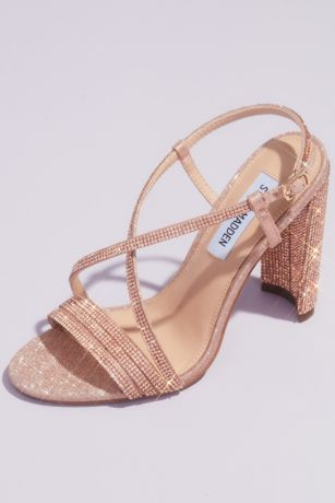Steve Madden x DB Pink Heeled Sandals (Strappy Crystal Block Heels with Square Front)