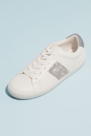 Madden Girl White Sneakers and Casual (Crystal Stripe Rubber Girls Lace-Up Sneakers)