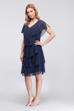 Short Sheath Cap Sleeves Dress - SL Fashions