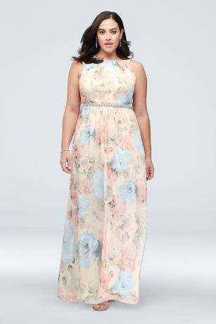 Floral-Printed Plus Size Sheath with Beaded Waist
