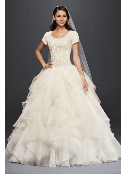 Oleg Cassini Short Sleeve Modest Ball Gown | David\'s Bridal