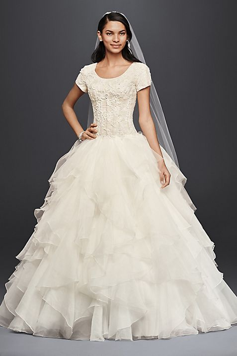 Oleg Cassini Short Sleeve Petite Wedding Dress | David\'s Bridal