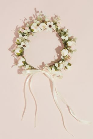 Faux Floral Wreath Flower Crown with Bow