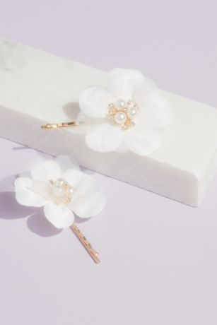 Fabric Petal Floral Hair Pin Set with Pearl Accent