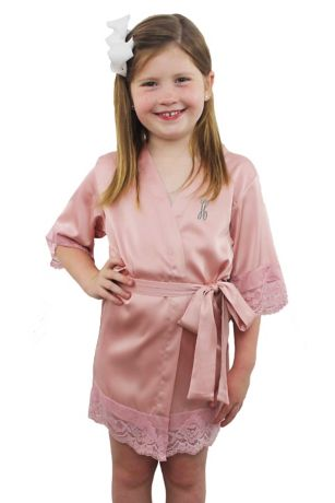 "Personalized Children""s Satin Lace Robe"