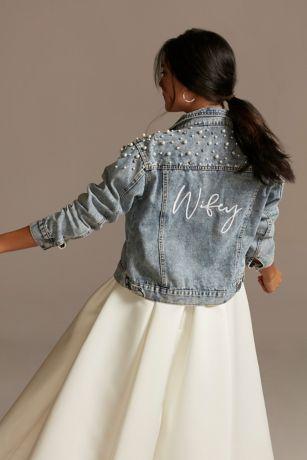 Wifey Pearl and Crystal Studded Denim Jacket
