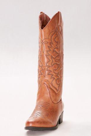Qupid Beige Boots (Classic Cowboy Boots)