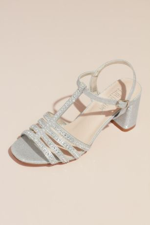 a75215f2e3 Blossom Beige;Black;Grey Heeled Sandals (Crystal T-Strap Glitter Block Heel