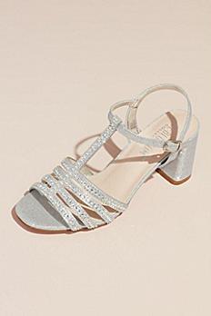 Crystal T-Strap Glitter Block Heel Sandals SOFIA-68