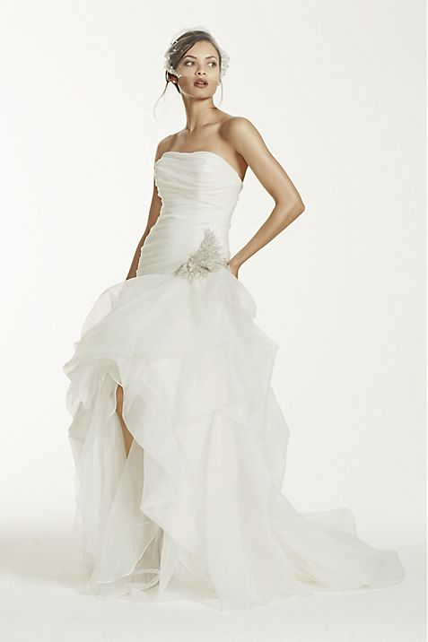 Organza and Tulle High-Low Gown with Beaded Flower | David\'s Bridal