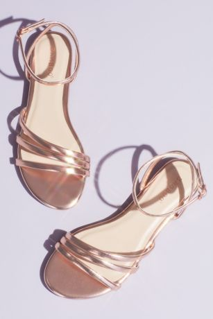 Bamboo Grey;Pink Sandals (Metallic Triple Band Flat Sandals with Ankle Strap)