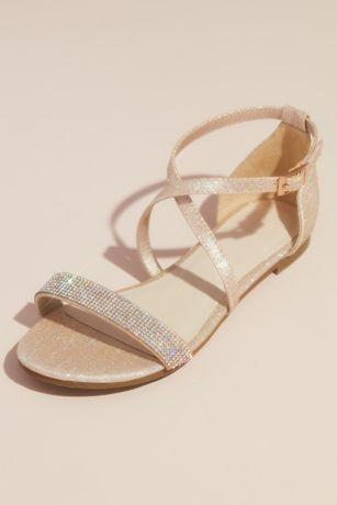 David's Bridal Beige;Pink Flat Sandals (Metallic Criss Cross Sandals with Crystal Strap)