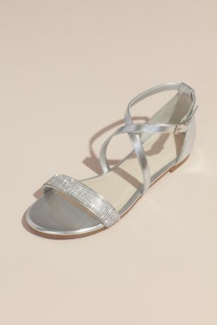 David's Bridal Beige;Grey;Pink Flat Sandals (Criss Cross Metallic Sandals with Crystal Strap)