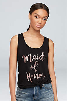Rose Gold Foil Maid of Honor Racerback Tank