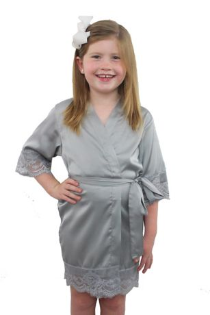 Childrens Satin Lace Robe