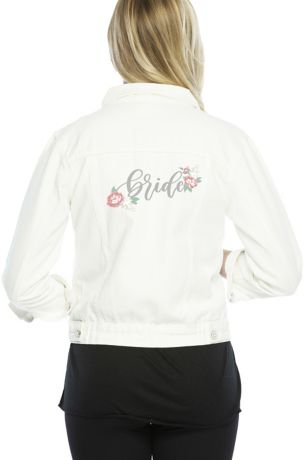 Embroidered Bride White Jean Jacket
