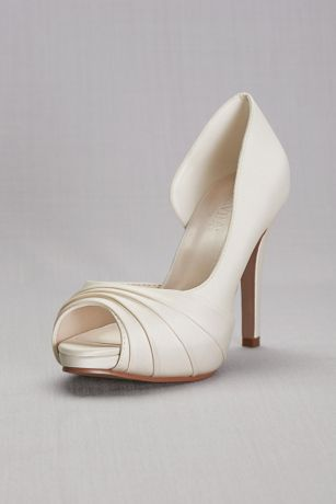 "David's Bridal Ivory Peep Toe Shoes (Satin Pleated  D""Orsay Platform Pumps)"