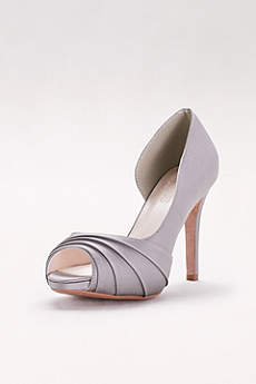 David's Bridal Ivory Peep Toe Shoes (Satin Pleated  D'Orsay Platform Pumps)