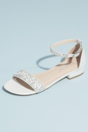 David's Bridal White Flat Sandals (Crystal Embellished Straps Flat Satin Sandals)