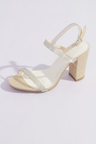 David's Bridal White;Yellow Heeled Sandals (Two-Tone Glitter Block Heel Sandals)