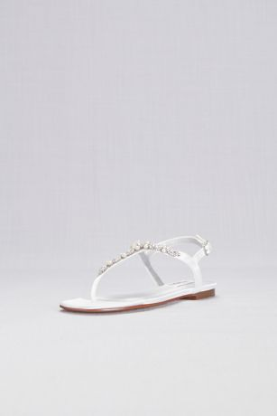 Dyeables White Flat Sandals (Pearl and Crystal Encrusted Dyeable T-Strap Sandal)