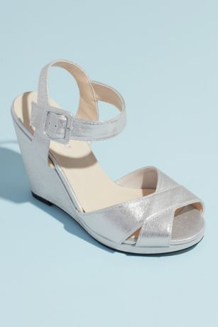 Benjamin Walk Beige;Grey;White Sandals (Crisscross Satin Dyeable Platform Wedge Sandals)