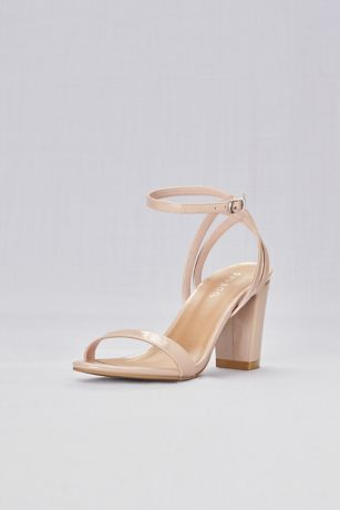 Bamboo Beige Heeled Sandals (Patent Sandals with Strappy Back)