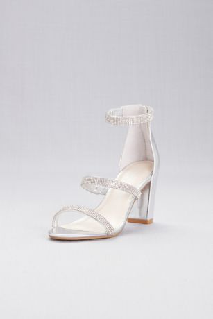 4519b270f99 David s Bridal Grey Heeled Sandals (Triple-Strap Block Heel Sandals with  Crystals)