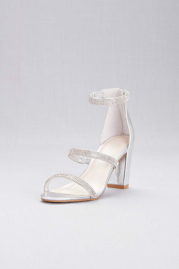 959d234fac9da David s Bridal Grey Heeled Sandals (Triple-Strap Block Heel Sandals with  Crystals)