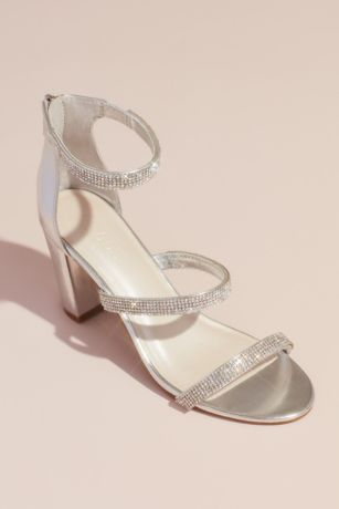 David's Bridal Grey;Pink Heeled Sandals (Triple-Strap Block Heel Sandals with Crystals)