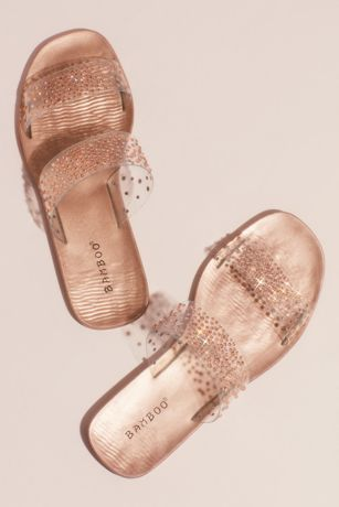 Blossom Grey;Pink Flat Sandals (Clear Strap Metallic Crystal Slide Sandals)