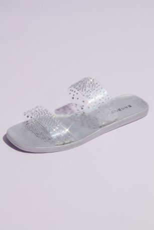 Bamboo Grey Flat Sandals (Clear Strap Metallic Crystal Slide Sandals)
