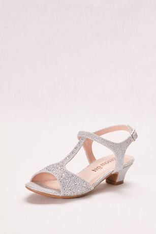 "Blossom Grey;Yellow Flowergirl Shoes (Glitter Girls"" T-Strap Low Heel Sandal)"